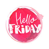 Hello friday banner with handmade typography at pink stain Stock Photography