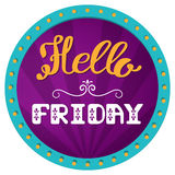 Hello Friday. Hand lettering on a bright, festive background. Retro frame with lights. Stock Image