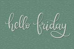 Hello Friday Hand Lettering Card. Modern Calligraphy. Vector Illustration vector illustration