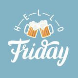 Hello Friday hand lettering with pint of beer on blue background. Royalty Free Stock Photo