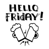 Hello Friday! - Lettering, funny design royalty free stock images