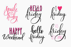 Hello Friday lettering postcard set. Stock Images