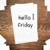 Hello Friday on paper Stock Image