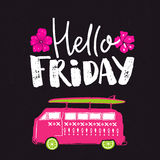 Hello friday. Positive saying. Vector handwriting at dark background with hand drawn illustration of surf wagon car Royalty Free Stock Image