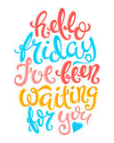 Hello friday poster. With hand-drawn lettering, vector illustration Stock Images