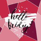 Hello friday.Vector calligraphy. Hand drawn lettering poster.Typography card Stock Photo