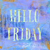 Hello Friday. Vintage background in purple, indigo and gold. Trendy boho chic style. Stock Photography