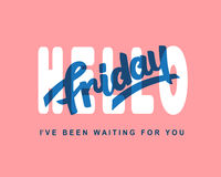 Hello Friday. Weekend trendy lettering Royalty Free Stock Photos