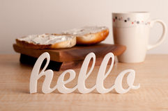 Hello in front of Breakfast Stock Photography