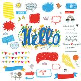 Hello funny stickers and posters set for kids, vector illustration. Hello funny stickers and posters set for kids, vector graphic illustration stock image