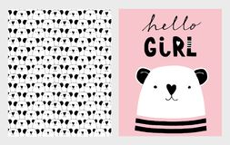 Hello Girl. Cute Hand Drawn Baby Shower Vector Illustrations Set. Pink, White and Black Infantile Design. White Little Bear on a Pink Background. Heads of Bears vector illustration