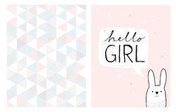 Hello Girl Hand Drawn Card and Irregular Triangles Vector Pattern. royalty free illustration