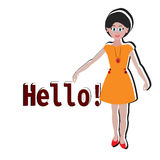 Hello girl sticker for t-shirt, postcard, banner, vector illustration. Cute princess Royalty Free Stock Images