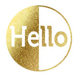 Hello in golden. Hello text in bright gold Royalty Free Stock Photos