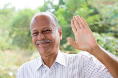 Hello, goodbye. Closeup portrait, amiable old man waving hi or farewell, isolated outdoors background with green trees Stock Photo