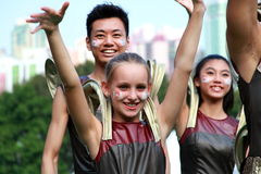 Hello in Grand Finale Parade. Standard Chartered Arts in the Park Mardi Gras is one of Hong Kong's largest and most vibrant annual community arts events.nThis Royalty Free Stock Photo