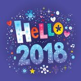 Hello 2018 - greeting card vector illustration
