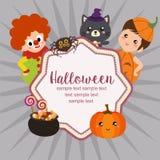 Hello halloween card clown kids in flat style. Cute hello halloween card clown kids in flat style Stock Illustration