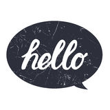 Hello hand draw lettering calligraphy on black bubble with grunge texture for print, card, poster, shirt. Royalty Free Stock Photos