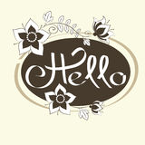 Hello hand draw lettering and Scribble Circles. Vector design elements Royalty Free Stock Photo