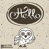 Hello hand draw lettering and Scribble Circles. Vector design elements Stock Photography