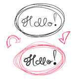 Hello hand draw lettering and Scribble Circles. Vector design elements Stock Photos