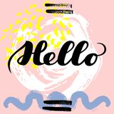 Hello. hand drawn brush lettering on colorful background. Motivational quote for postcard, social media, ready to use. Abstract backgrounds with hand drawn Vector Illustration