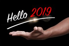 Hello 2019 with hand royalty free stock photography