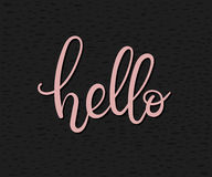 Hello hand lettering card. Modern Calligraphy. Vector inscription royalty free illustration
