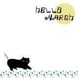 Hello hand lettering postcard with black cat. Hello March hand lettering postcard with black cat Stock Image
