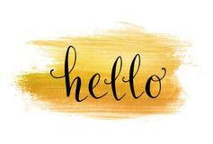 Hello hand lettering on splash golden background Stock Image