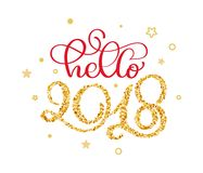 Hello 2018 hand lettering text with little gold stars to winter holiday greeting card.  Royalty Free Stock Photography