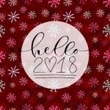 Hello 2018 Handskriven design för julhälsningkort nytt år för symbol Calligraphic vektorillustration Vektor Illustrationer