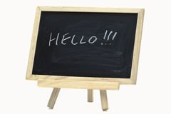 Hello handwriting on notice board Stock Photo