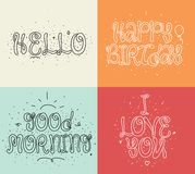 Hello, Happy birthday, I love you, Good morning. Set of modern calligraphy and hand drawn elements. Typographical Royalty Free Stock Photo