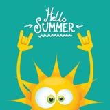 Hello-het broodjes vectordieetiket van de de zomer funky rots n op azuurblauw wordt geïsoleerd de achtergrond van de de zomerpart Royalty-vrije Stock Afbeeldingen