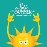 Hello-het broodjes vectordieetiket van de de zomer funky rots n op azuurblauw wordt geïsoleerd de achtergrond van de de zomerpart Royalty-vrije Stock Fotografie