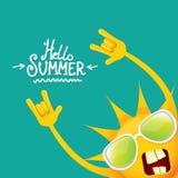 Hello-het broodjes vectordieetiket van de de zomer funky rots n op azuurblauw wordt geïsoleerd de achtergrond van de de zomerpart Stock Afbeelding