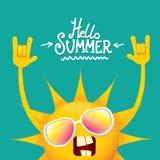 Hello-het broodjes vectordieetiket van de de zomer funky rots n op azuurblauw wordt geïsoleerd de achtergrond van de de zomerpart Royalty-vrije Stock Afbeelding