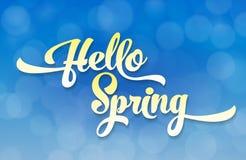 Hello-het de lentelicht stileerde inschrijving op de achtergrond van de hemel met het effect van bokeh De lentemalplaatje voor uw Stock Foto
