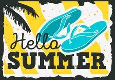 Hello-het Ontwerp van de de Zomertijd met Flip Flops Slippers Beach Shoes-Illustraties Stock Afbeelding