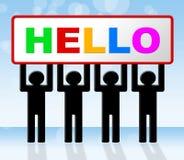 Hello-het Teken wijst op hoe u en de Reclame bent Stock Foto