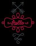 Hello-het van letters voorzien Stock Fotografie