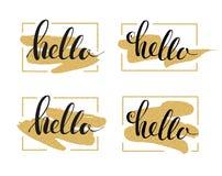 Hello-het van letters voorzien Stock Afbeeldingen
