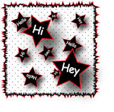 Hello Hey Hi Illustration. Illustration featuring the words 'Hello,' 'Hey,' 'Hi,' on a red, black and white poka dots background Stock Photos