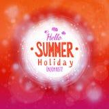 Hello hot summer holidays drawing card Royalty Free Stock Photos