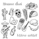 Hello! How are you? Travel to Mexico Food Culture Drink Cuisine Hand draw vector icons Royalty Free Stock Photos