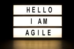 Hello I am agile light box sign board. On wooden table stock images