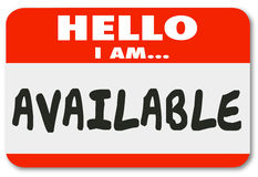 Hello I Am Available Name Tag Sticker Accessible Convenience Ser Stock Photos