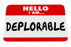 Hello I Am Deplorable Name Tag Greeting Words. 3d Illustration Royalty Free Stock Image